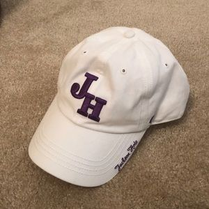 Accessories - White hat with Jackson hole logo in purple.